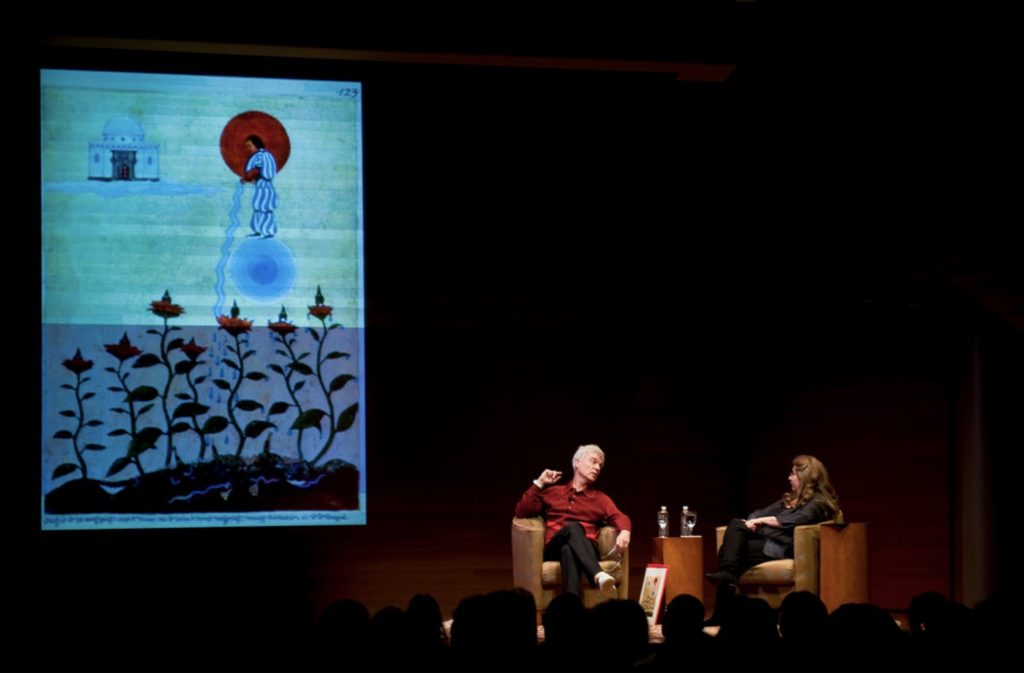 David Byrne and Sherry Salman in the Red Book Dialogues, image by Michael Palma Mir