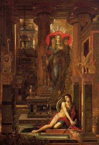 Gustave Moreau (1826–1898), Orestes and the Erinyes (c 1891), oil on canvas, 180 × 120 cm, Private collection. Wikimedia Commons.
